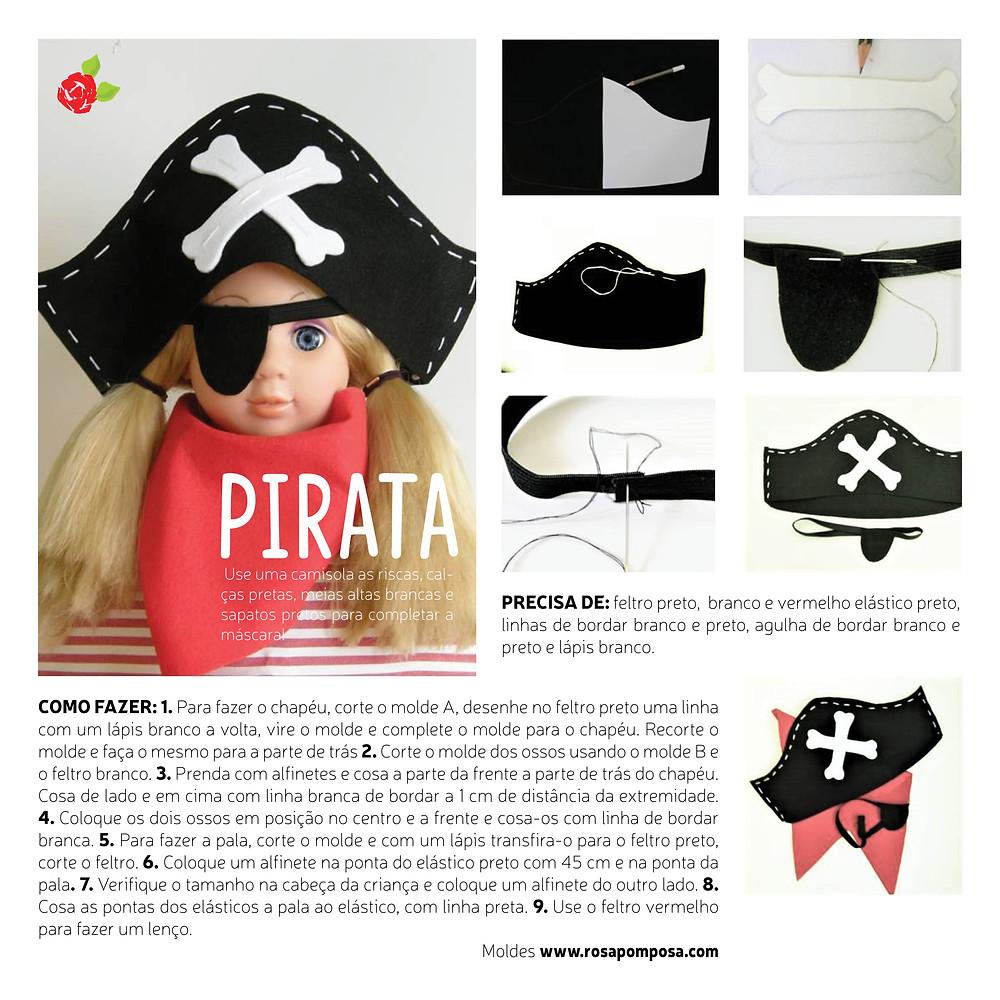 Mãscara de pirata em feltro Rosapomposa