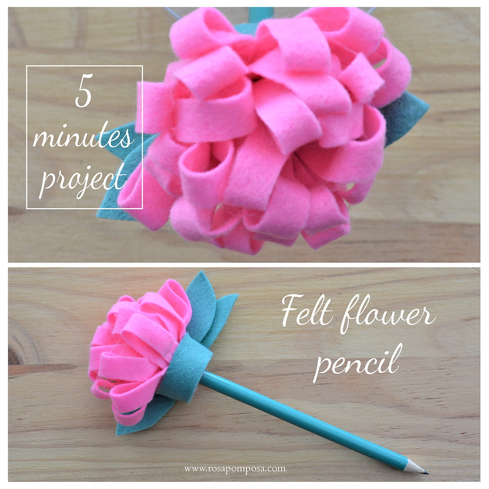 lápis com flor de feltro rosapomposa