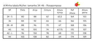 Tabela medidas Mulher Rosapomposa