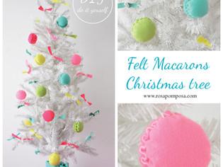 Macarons de feltro para árvore de Natal