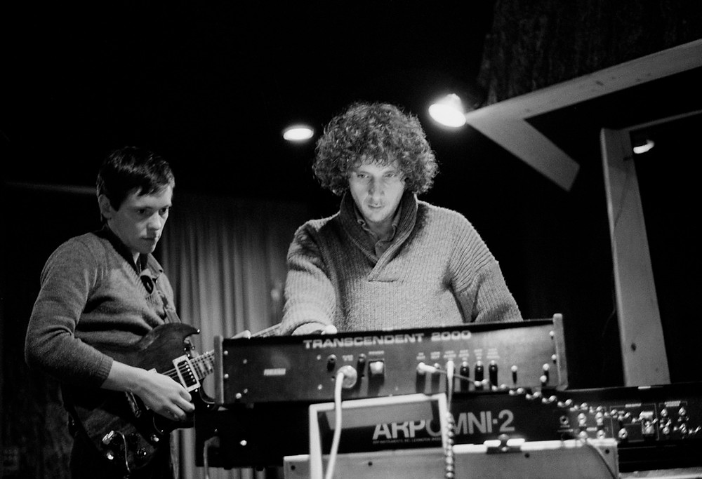 Bernard Sumner and producer, Martin Hannett in the recording studio.