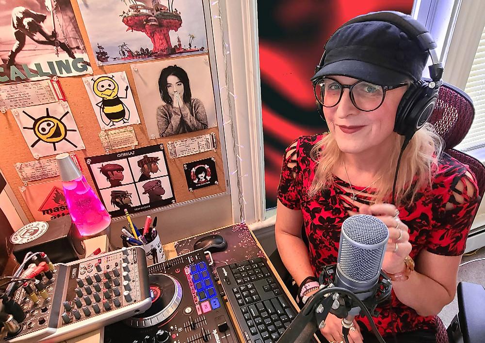 Kristen Eck in the BumbleBee Radio studio.