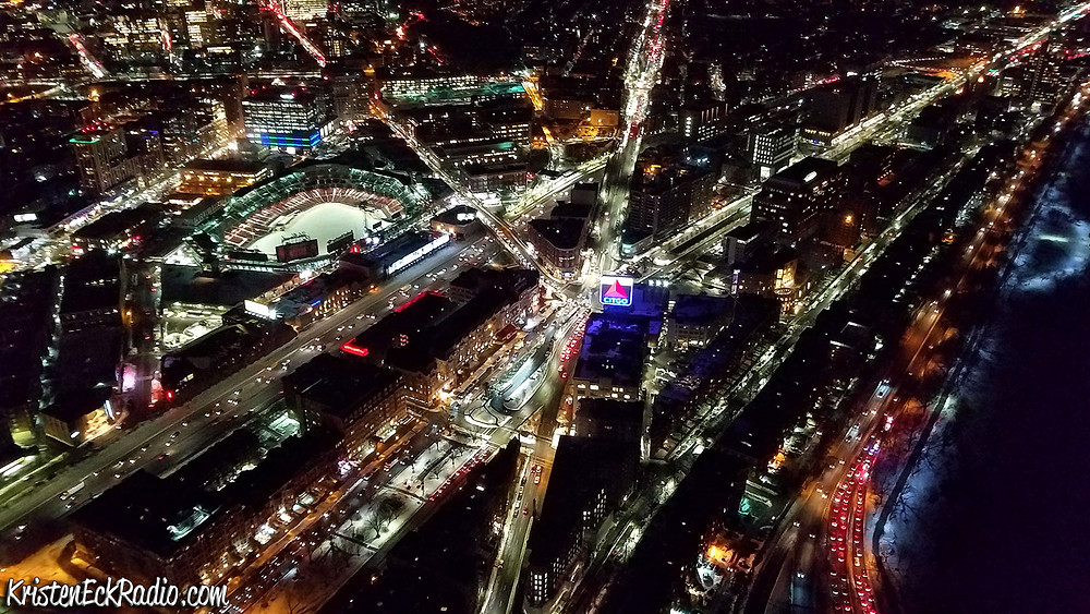 Aerial photo of Kenmore Square in Boston at night.
