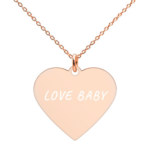 """LOVE BABY"" Rose Gold Heart Necklace"