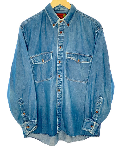 Classic Long Sleeve Denim Button Up - Large