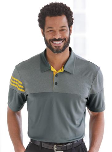 Adidas - Heathered 3-Stripes Colorblock Sport Shirt - A213