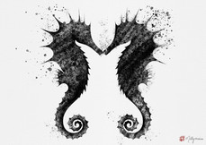 Japanese Seahorses Art Print