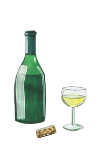 wine-bottle-glass-cork-gouache-painting-
