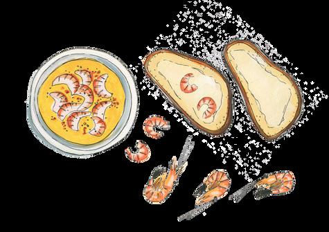 potted-shrimp-prawns-on-toast-gouache-pa