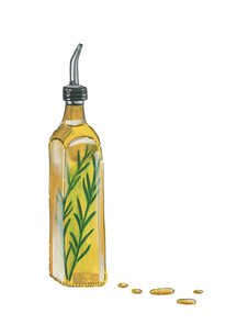 olive-oil-with-rosemary-gouache-painting