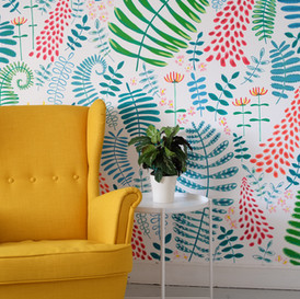 forest-flowers-and-fern-mural-sarah-dowl