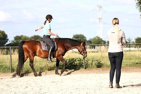 Houding en zitles met paardrij-instructrice