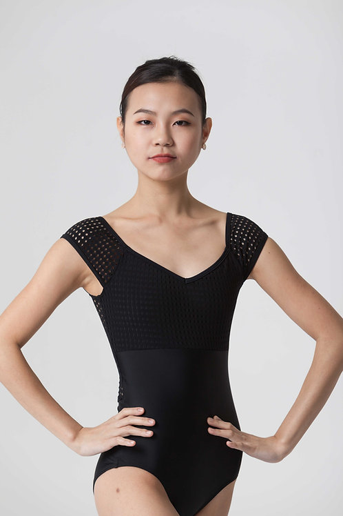 Cabochon Leotard: Black + Black Dot Mesh