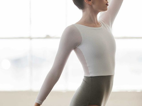 NEW! The Royal Leotard in White/Heather Grey.