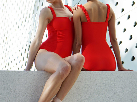 The Carbon Leotard Feat. Ruffle Straps and Rib Fabric