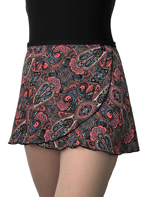 WS128 Wrap Skirt: Neon Paisley