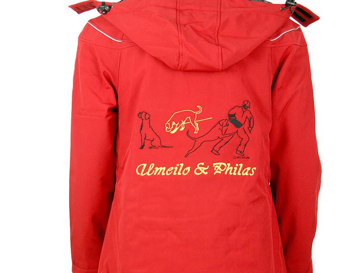 Softshell Jacke mit Kapuze und Stickerei