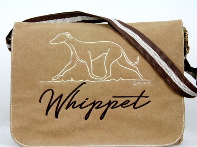 Umhänge Tasche mit Whippet Stickerei