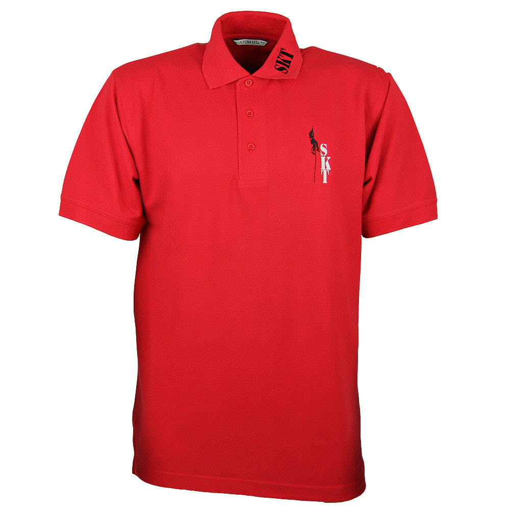 Polo-Shirt, rot, mit Kragenstickerei