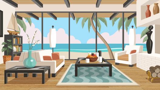 Beach House vector background