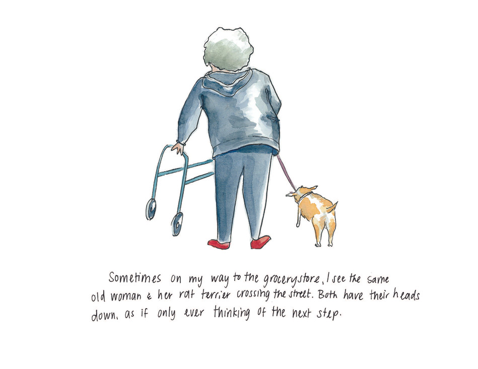 Elderly woman with chihuahua Watercolor