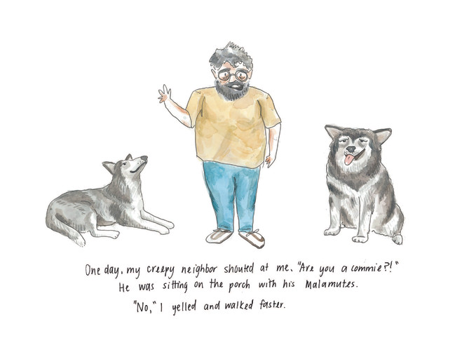 A Commie with his Malamutes Watercolor I