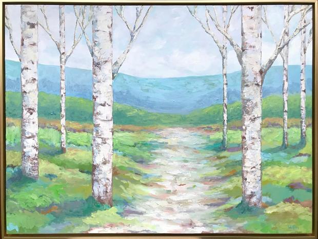 Aspens in Green Landscape
