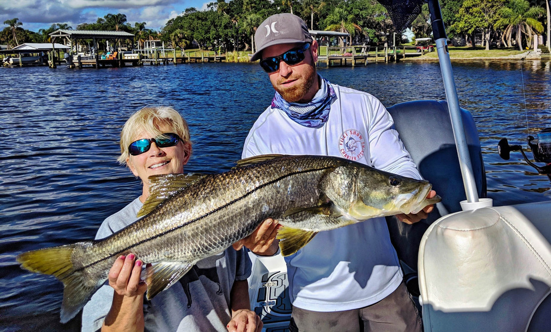 Big snook caught dock fishing on guided trip