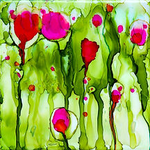 red flowers, alcohol inks, tile, colourful