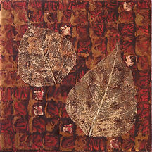 tile painting with acrylics and golden leaves