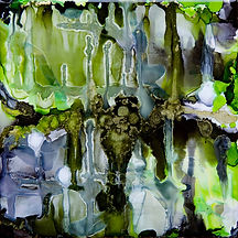 green, black and gold alcohol ink painting on tile