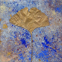 painting on tile, mineral pigments and golden gingko leaf