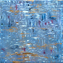 blue and gold acrylic abstract painting on tile