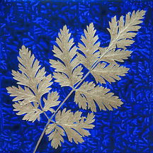 acrylic painting on tile with a golden leaf