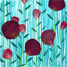 acrylic painting with rose petals on tile