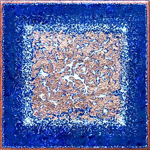 blue and bronze acrylic painting on tile