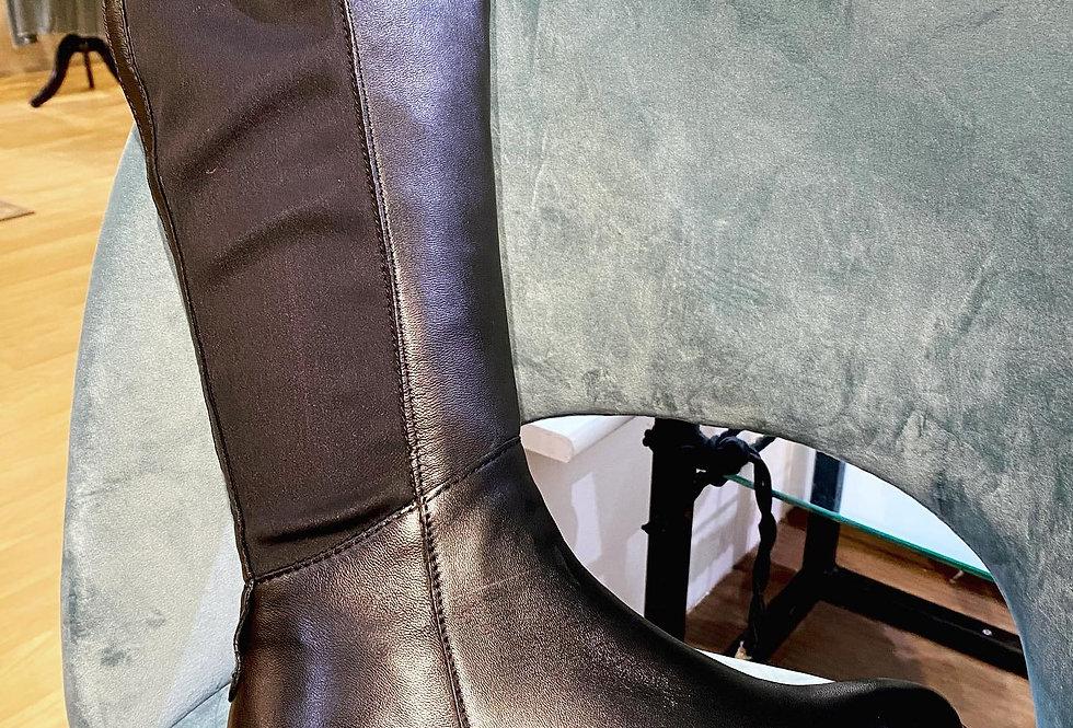 Leather Wedge Heel Long Black Boot