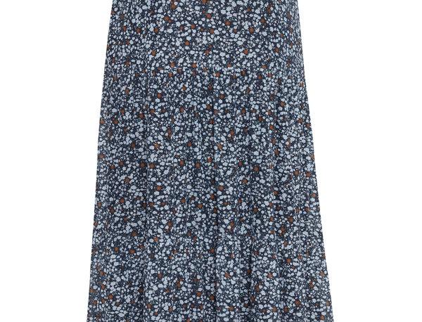 Patterned Long Navy Skirt