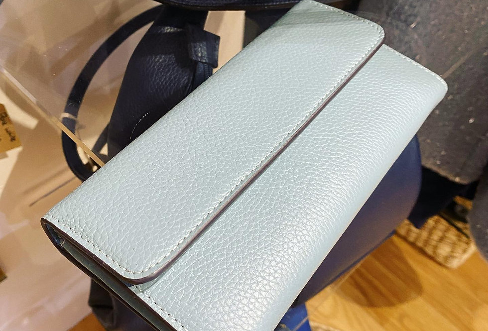 Baby Blue Leather Purse Clutch