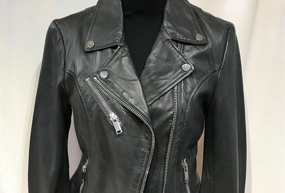 Biker Leather Jacket Ghost Dark Grey
