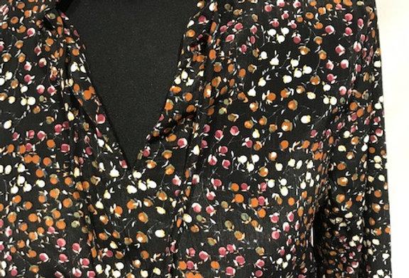 Long Sleeve Tie Waist in Black Floral Pattern