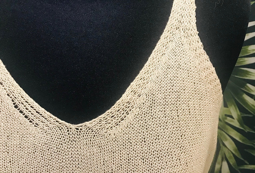 Linen Look Vest Top