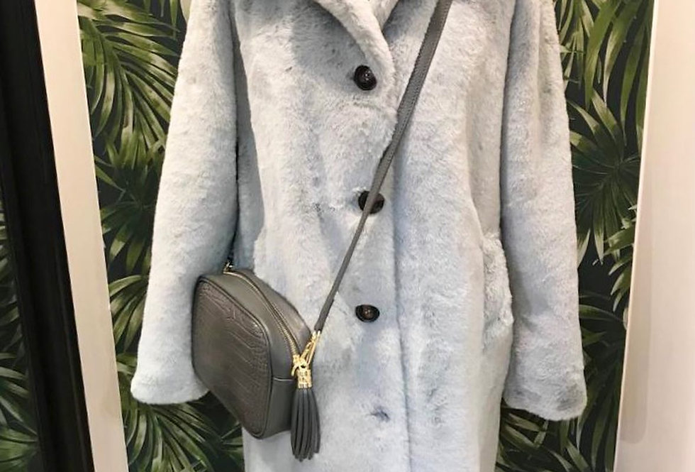 Soft Silver Grey Chunky Collar Coat