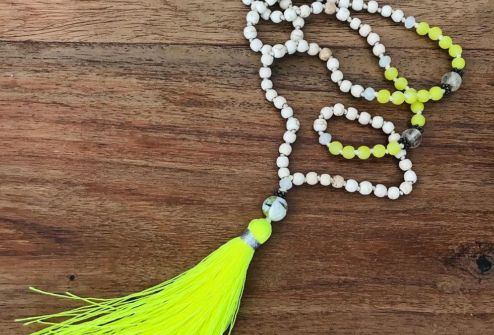 Lime Tassel Long Necklace