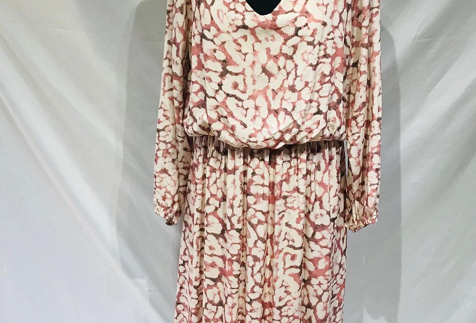 Long Sleeve Salmon Printed Dress