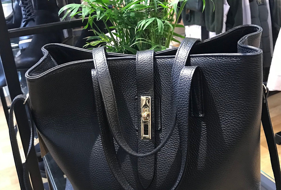 Large Leather Clasp Bag