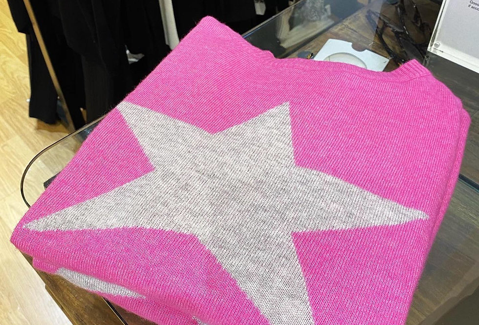 Fuchsia Cashmere Star Jumper