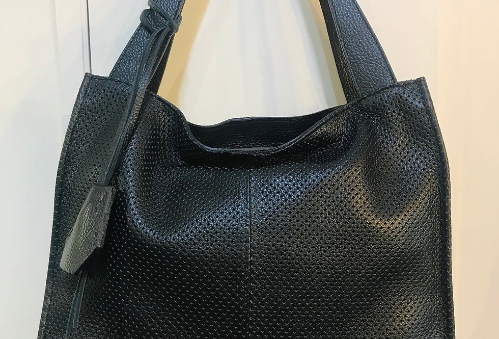 Textured Black Leather Bag
