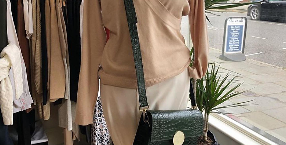 Green Leather Shoulder Bag with Buckle Detail