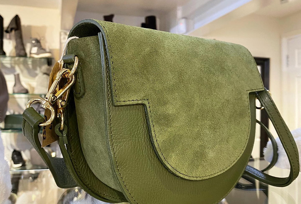 Leather Olive Saddle Bag